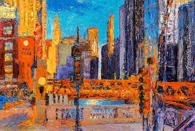 Painting - Chicago River Bridges by Judith Barath