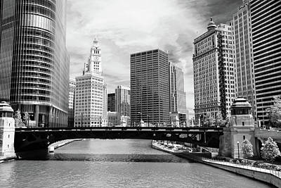 Black And White Images Photograph - Chicago River Buildings Skyline by Paul Velgos