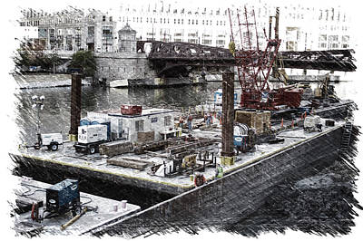 Artist Working Photograph - Chicago River Construction Barge Pa 04 by Thomas Woolworth