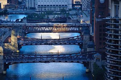 Transit Photograph - Chicago River First Light by Steve Gadomski