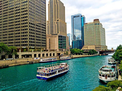 Photograph - Chicago River From Dusable Bridge by Robert Meyers-Lussier