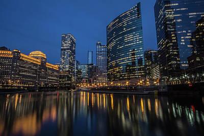 Chicago River Reflections At Dusk  Art Print