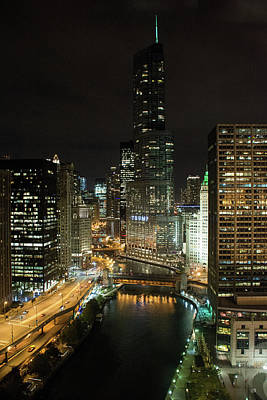 Photograph - Chicago River Skyline At Night by John Black