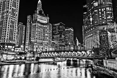 Chicago River Skyline At Night Picture Art Print