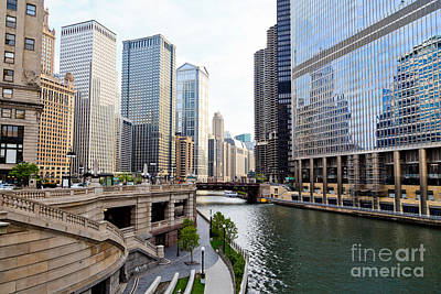 Chicago River Skyline Building Architecture Art Print by Paul Velgos