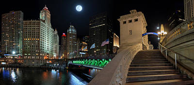 Photograph - Chicago Riverwalk By Night Under Full Moon. by Justin Kelefas