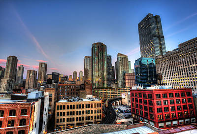 Chicago Rooftop And Sunset Art Print by Shawn Everhart