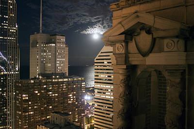 Chicago Rooftop On Moonlit Night Art Print by Christopher Purcell