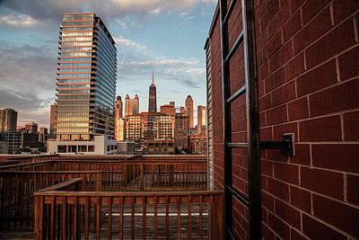Photograph - Chicago Rooftop With Hancock Tower by John McGraw