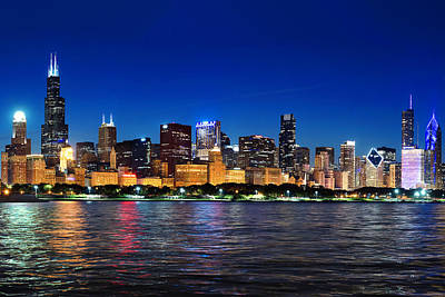 Chicago Shorline At Night Art Print