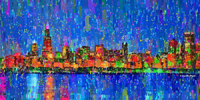 Shiny Painting - Chicago Skyline 200 - Pa by Leonardo Digenio