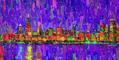 Backdrop Digital Art - Chicago Skyline 201 - Da by Leonardo Digenio