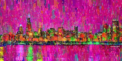 Backgrounds Digital Art - Chicago Skyline 202 - Da by Leonardo Digenio