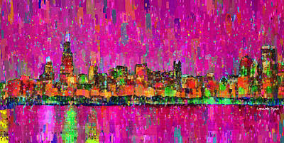 Curves Painting - Chicago Skyline 202 - Pa by Leonardo Digenio