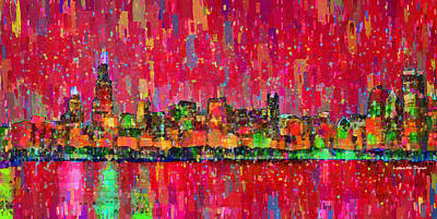 Mosaic Digital Art - Chicago Skyline 203 - Da by Leonardo Digenio