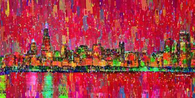 Bright Digital Art - Chicago Skyline 203 - Da by Leonardo Digenio