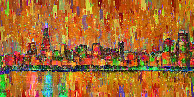 Textured Painting - Chicago Skyline 204 - Pa by Leonardo Digenio