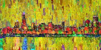 Sign Digital Art - Chicago Skyline 205 - Pa by Leonardo Digenio