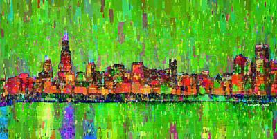 Silhouette Digital Art - Chicago Skyline 206 - Da by Leonardo Digenio