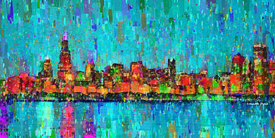 Gradient Digital Art - Chicago Skyline 207 - Pa by Leonardo Digenio