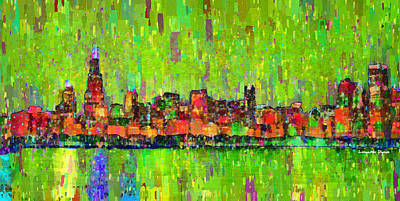 Squares Digital Art - Chicago Skyline 208 - Da by Leonardo Digenio