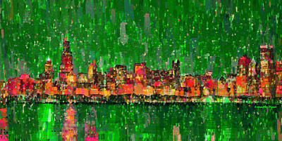 Ornament Digital Art - Chicago Skyline 209 - Da by Leonardo Digenio