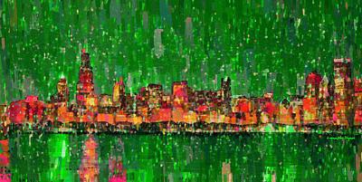 Chicago Skyline 209 - Pa Art Print