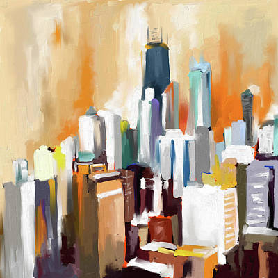 Loop Painting - Chicago Skyline 649 1 by Mawra Tahreem