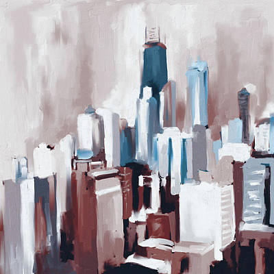 Loop Painting - Chicago Skyline 649 3 by Mawra Tahreem
