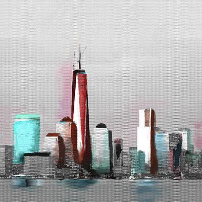 Liberty Painting - Chicago Skyline 651 2 by Mawra Tahreem