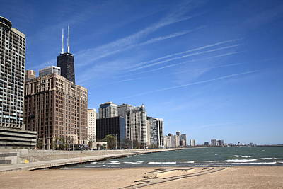 Photograph - Chicago Skyline And Beach by Frank Romeo