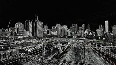 Chicago Skyline And Tracks Art Print
