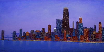 Hancock Building Painting - Chicago Skyline At Dusk From North Ave Beach Pier by J Loren Reedy