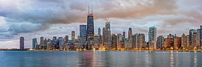 Skylines Royalty-Free and Rights-Managed Images - Chicago Skyline at Dusk by James Udall