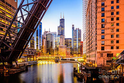Chicago Skyline At Night And Kinzie Bridge Art Print