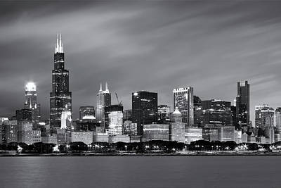 Famous Photograph - Chicago Skyline At Night Black And White  by Adam Romanowicz