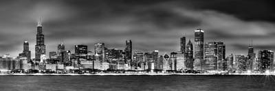 Night City Photograph - Chicago Skyline At Night Black And White by Jon Holiday