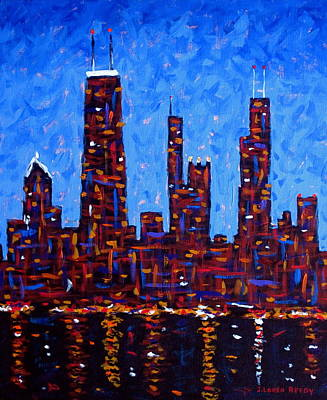 Chicago Skyline At Night From North Avenue Pier - Vertical Original by J Loren Reedy