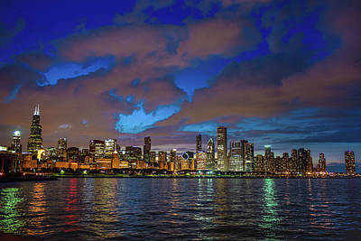 Photograph - Chicago Skyline At Night From Solidarity Drive by Judith Barath