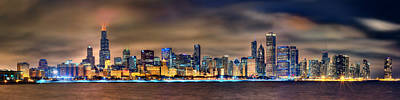 Chicago Skyline At Night Panorama Art Print