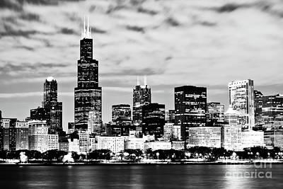 Chicago Skyline At Night Art Print by Paul Velgos