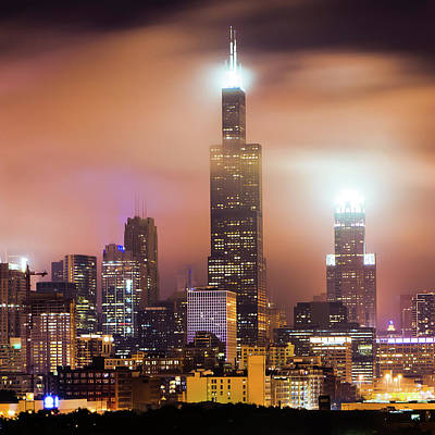 Photograph - Chicago Skyline At Night Under Hazy Skies - 1x1 by Gregory Ballos