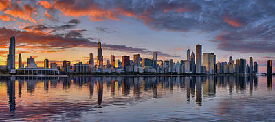 Photograph - Chicago Skyline At Sunset 2018 by Justin Kelefas