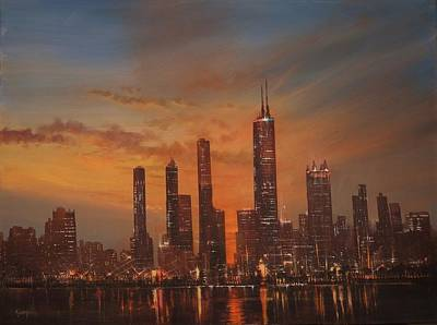 Chicago At Night Painting - Chicago Skyline At Sunset by Tom Shropshire