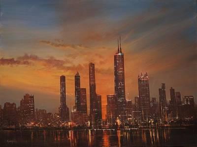 Chicago Skyline At Sunset Original