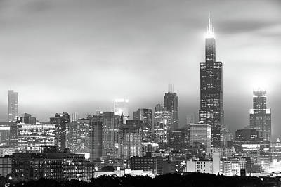 Photograph - Chicago Skyline Black And White - Illinois - Usa by Gregory Ballos