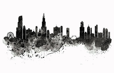Chicago Skyline Black And White Art Print