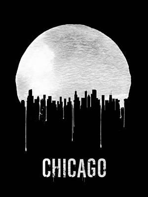 Chicago Skyline Black Art Print by Naxart Studio