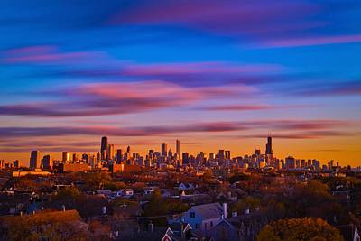 Chicago Skyline Blend Art Print by Steve Kuzminski