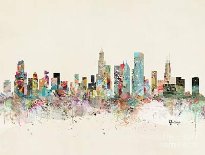 Painting - Chicago Skyline by Bleu Bri